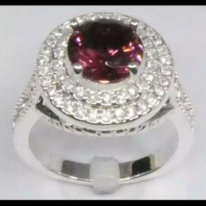 Charter Club Silver-Tone Crystal Double-Halo Ring
